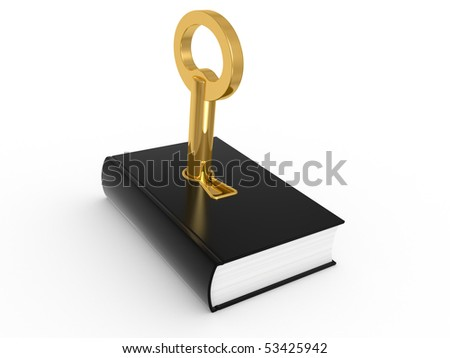Key to knowledge, book isolated on a white background
