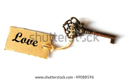 key to love concept with word written on label or tag