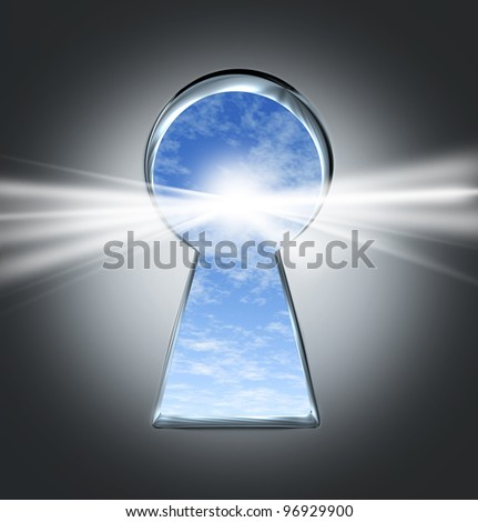 Key to success with an open keyhole to a bright future with a blue sky and clouds as an opportunity concept for a new business or starting an inspired life of hope and happiness.