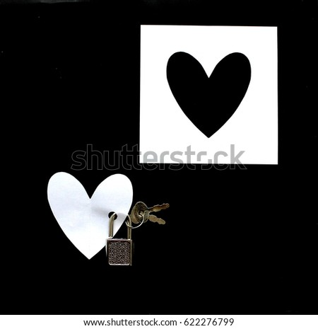 key to your heart. love heart.  black & white  #622276799