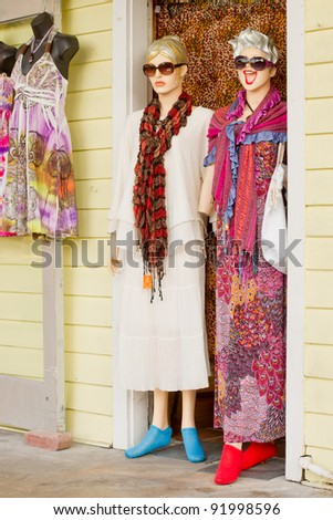 KEY WEST, FLORIDA - DEC 1: Dress shop manikins in Key West on December 1, 2011. Residents Calvin Klein and Jimmy Buffett are celebrities who have helped make Key West a Mecca for the creative jet set.