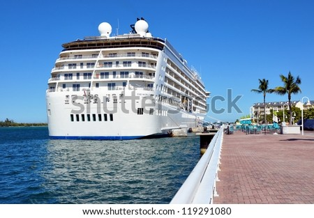 KEY WEST, FLORIDA-NOVEMBER 19:  Cruise Ship The World docks in Key West harbor, November 19, 2012.  Launched in 2002, she has 165 private onboard residences, and continually circumnavigates the globe.