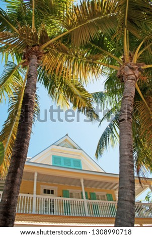 Key West, Florida, Usa: a typical conch house in the old town, historical Key West architecture, a major tourist attraction and an eclectic mix of over 3,000 wooden buildings dating from 1886 to 1912 #1308990718
