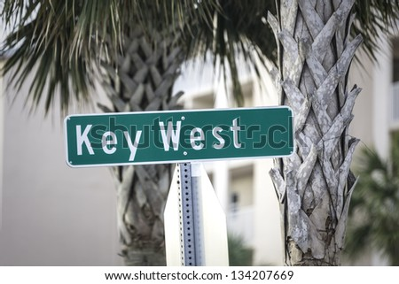 Key West street sign, South Florida