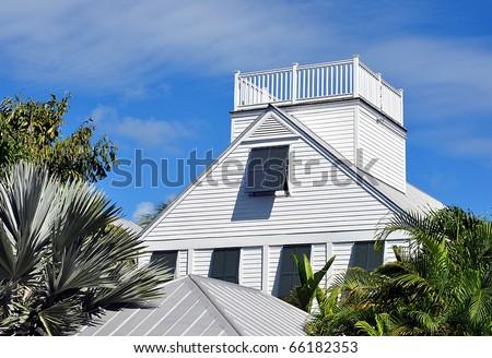 Key west style architecture with widow 39 s walk stock photo for Key west style architecture