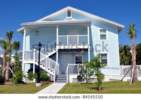 Key west style tropical beach house architecture stock for Key west style architecture