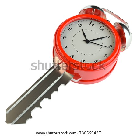 Key with alarm clock. Success concept or concept of housing sales. 3d illustration. Isolated on white #730559437