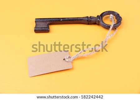 Key with empty tag, on color  background