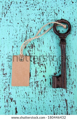 Key with empty tag, on color wooden background