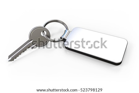 Key with fob on white background 3D rendering