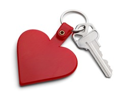 Key with Red Heart Key Chain Isolated on White Background.