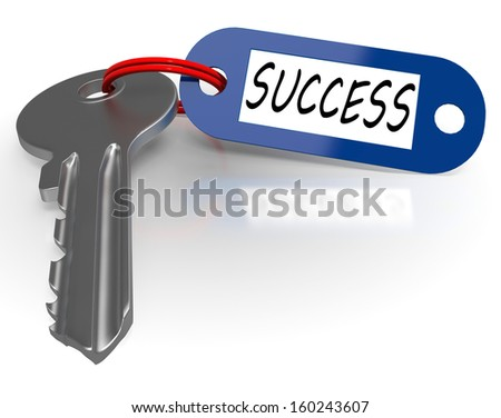 Key With Success Word Shows Winning Or Achievement
