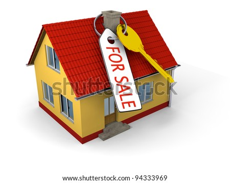 "Key with tag saying ""for sale"" on small family house"