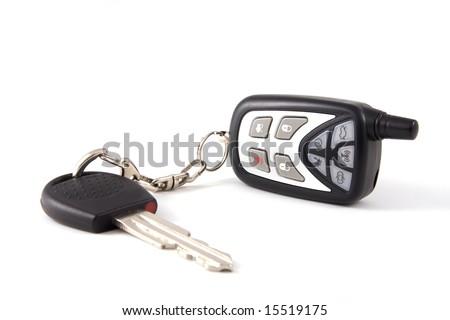 Key with wireless on white background - stock photo