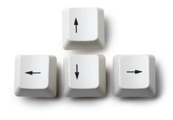 Keyboard arrow cursor keys buttons isolated on white background