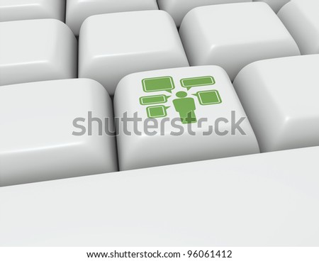 Keyboard button with an icon for social media access