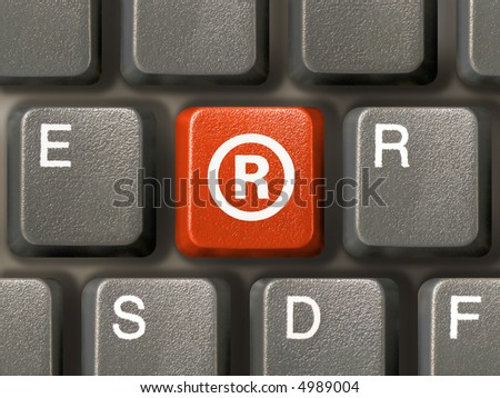 Keyboard (close-up), red key with Registered mark symbol