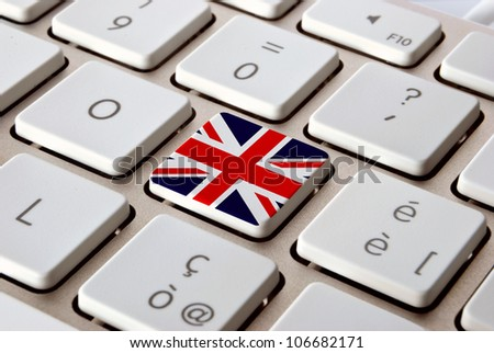 Keyboard close-up with an UK flag print upon a key.