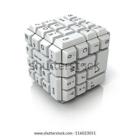 Keyboard cube - stock photo