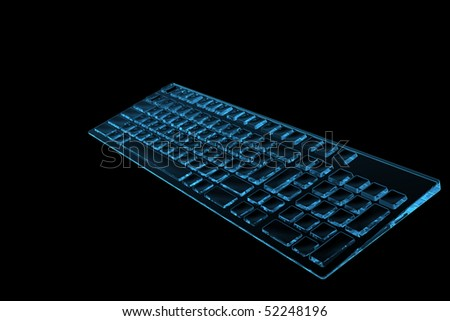 Keyboard 3D rendered xray blue transparent