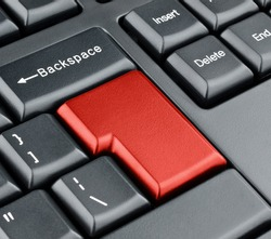 Keyboard empty red enter button. Keyboard concept