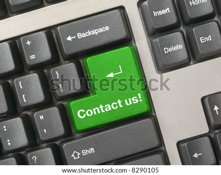 Keyboard - green key Contact us, business background