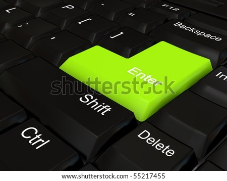 Keyboard - green key. 3d rendered image
