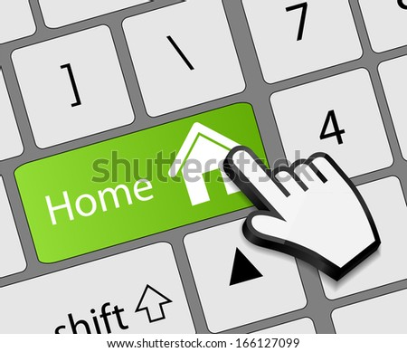 Keyboard Home button with mouse hand cursor  illustration