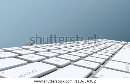 keyboard isolated on blue background
