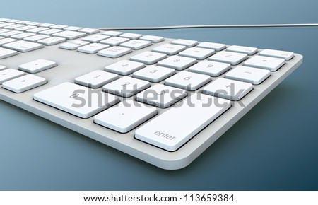 keyboard isolated on blue background