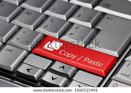 keyboard key red - copy / paste