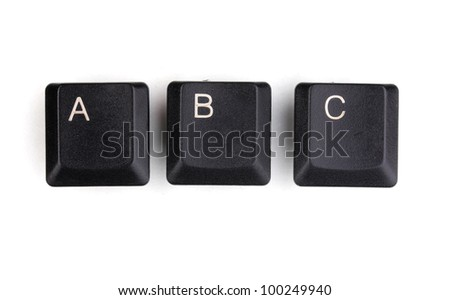 Keyboard keys saying abc isolated on white