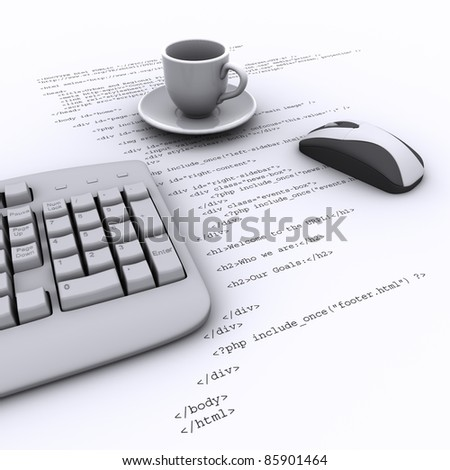 Keyboard, Mouse, an empty cup on the background   program code