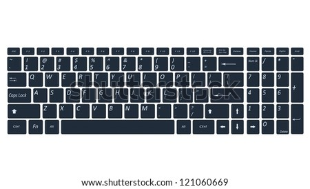 Keyboard of a notebook computer. White and black.