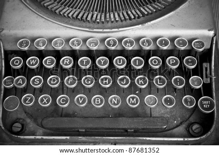 Keyboard of a vintage typewriter in black and white