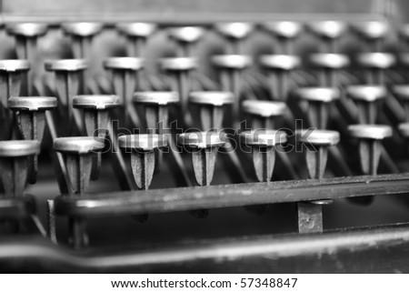 Keyboard of a vintage typewriter in close up