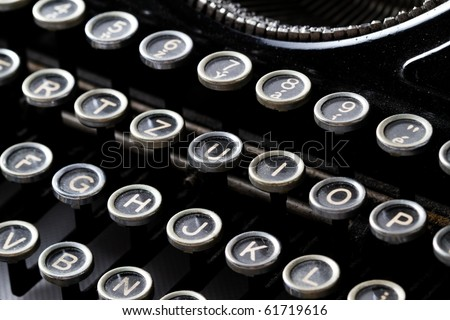 Keyboard of a vintage typewriter in close up