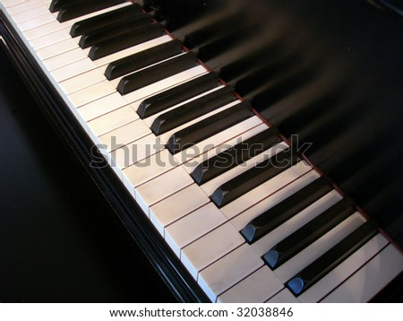 Keyboard of old grand piano