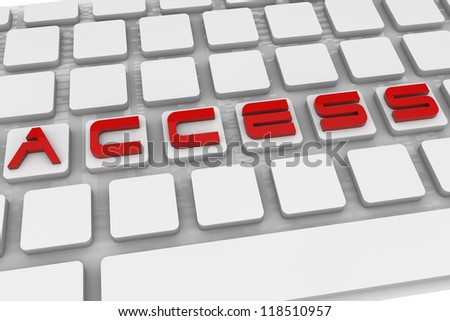 Keyboard with Access text, 3d image.