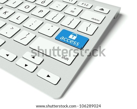 Keyboard with blue Access button, internet concept