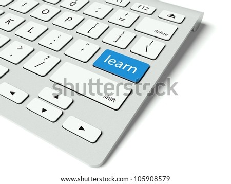 Keyboard with blue Learn button, internet concept