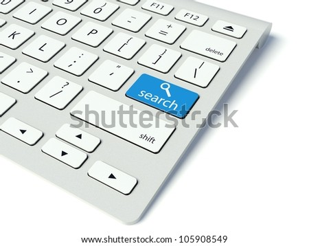 Keyboard with blue Search button, internet concept