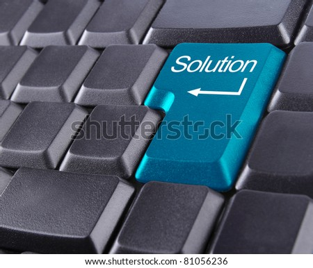 keyboard with blue solution button