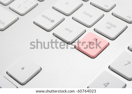Keyboard with button mail - electronic communication concept