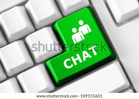Keyboard with Chat  text and people symbol