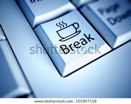 Keyboard with Coffee Break button, work concept
