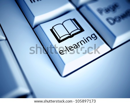 Keyboard with E-learning button, internet concept