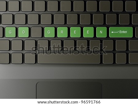 Keyboard with go green button, ecology concept.