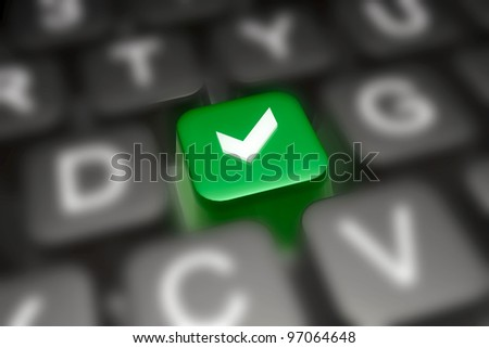 Keyboard with green and grey keys - abstract computer background.