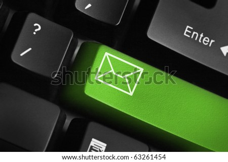 Keyboard with green email button